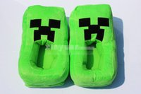 cartoon slippers - 2016 Minecraft Creeper Plush Slippers Warm Winter Household Slippers Cartoon Thick Bottom Shoes Booties for men and women free size