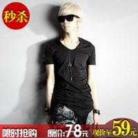 alternative clothing men - Korean non mainstream men s clothes irregular hem short sleeve T shirt men s alternative