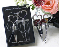 wine opener set - Wine Bottle opener Heart Shaped Great Combination Corkscrew and Stopper Heart Shaped Sets Wedding Favors Gift sets