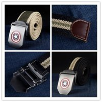 Wholesale New Captain America canvas belt male famale automatic buckle belt wild casual men s tide