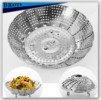 Wholesale Stainless steel multifunctional steamer retractable folding steaming plate fruit plate