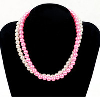 Wholesale NEW Kids Children pink and white color pearl Necklace performance necklace Jewelry Best gfit HH56