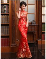 Wholesale 2016 quality paillette lace fish tail slim evening dress the bride cheongsam wedding dress red chinese style
