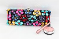 fashion fabric handbags - luxury rhinestone evening bags European style chains party ladies clutches handbag new fashion long colorful crystal wedding clutch bag