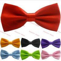Wholesale Hot Sale Satin Mens Pre Tied Wedding Party Fancy Plain Necktie tie Bow Ties men women Polyester solid color bow ties