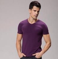 bamboo t-shirt - 2015 New Spring And Summer Short Sleeved V Neck Short Sleeved T Shirt Solid Color Men T Shirt Bamboo Fiber