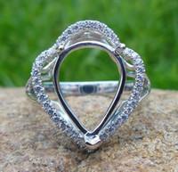 South American semi mount ring pear - Pear Shape x13MM K White Gold Semi Mount Ring