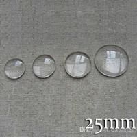 al por mayor cabochon de los ajustes de vidrio-100pcs / lot 25m m redondo de cristal transparente plano de la cubierta de la bóveda del CabochonGlass Colgante Colgante Configuración del camafeo