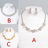 Wholesale Silver Gold plated Bridal Jewelry Sets Rhinestone Chain Pendant Necklaces and Earrings For Wedding Bridal Bridesmaid Prom Party Hot Sale