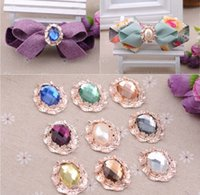 Wholesale 25 mm Oval Acrylic Diamond Alloy Rhinestones Rose Gold Faceplate Buckles Cloth Shoes Accessories Q026