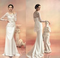 Cheap Sheath/Column Wedding Dress 2015 Best Reference Images Scoop Sweep Train Bridal Gown