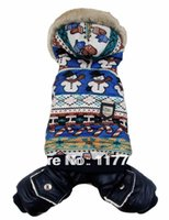 Оптово-Новое прибытие Голубой Снег Люди Печать Pet Собаки зимнее пальто Бесплатная доставка Собаки Одежда новая одежда для собак