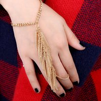 Wholesale Bohemia Harness Accessories Punk Tassel Bracelet Exaggerated Gold Slave Hand Chain for Woman Link Ring Dance Jewelry pulseiras J0067