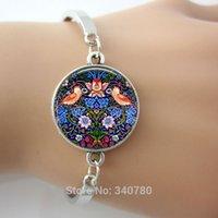 art nouveau bracelet - William Morris Thief Tapestry Detail Vintage Inspired Keepsake Pendant bangles Art Nouveau Sparrow pattern bangles