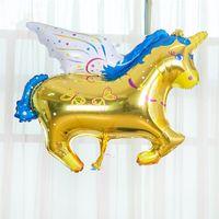 horse decor - Color Pegasus Balloons Toys Aluminum Foil Hydrogen Cartoon Horse Balloons Birthday Party Children Gift Favors Festive Christmas Party Decor