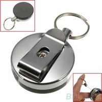 Wholesale Retractable Metal Card Badge Holder Steel Recoil Ring Belt Clip Pull Key Chain QOI