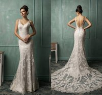 Cheap Amelia Sposa 2015 Backless Wedding Dresses Spaghetti Sleeveless Court Train Sheer Back White Ivory Custom Made Lace Bridal Gowns 2016