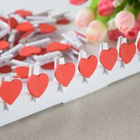 Wholesale 500 Mini wooden Heart Shape paper clips Cute Clip Photo wooden pegs Wedding Decoration