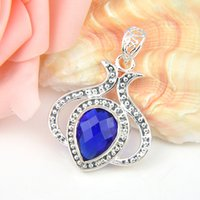 antique weddings - 3 Pieces Antique Crystal Fire Drop Swiss Blue Topaz Gems Sterling Silver USA Israel Wedding Engagement Pendants Weddings Jewelry