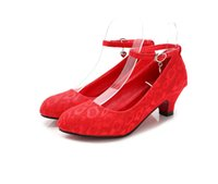 Cheap New Arrived bridal and wedding shoes classic chinese style cheongsam shoes red mid heel bridal shoes ali 016