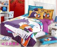 Cheap 3pcs lot 3D Totoro purple Kids cartoon bedding comforter set children queen size bedspread sheet duvet cover quilt linen home texile