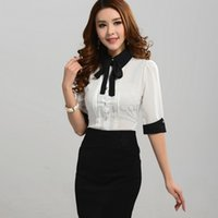 Wholesale Turn Down Collar Blouses Women s Office Ladies Work Wear Shirt Women Half Sleeve Broadcloth Bow Blouse Tops Black White Blue B6