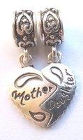 achat en gros de pandora fille perle-2pcs / lot 925 mère argentée fille coeur à cœur charme charme Forme européenne Pandora DIY perles Bracelets collier pendentif accessoires