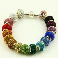 Wholesale Fashion Silver Multi Crystal Antique Charm Alloy loose beads Fit Pandora European Style Bracelet
