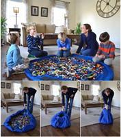 achat en gros de stockage pour les jouets-6 couleurs portable enfants enfants nourrisson bébé jouer tapis 150cm 45cm grands sacs de rangement jouets organisateur couvertures Rug Boxes multi-fonctionnel de stockage