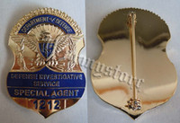 Wholesale light Empire American bureau of Investigation Department of defense agent metal badge big Badge
