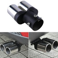 Wholesale New Universal Chrome Stainless Steel Car Rear Round Exhaust Pipe Twin Tail Muffler Tip hot selling