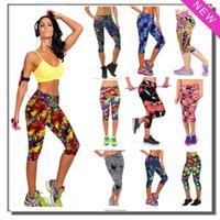 beige capri pants - New Brand Capri Sports Leggings High Waist Floral Printing Pants Lady s Fashion Elastic Streched Yoga Fitness Gym Leggings Colors