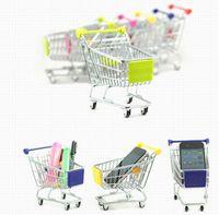 Wholesale Cute Cart Mobile Phone Holder Pen Holder Mini Supermarket office Handcart Shopping Utility Cart Phone Holder small large