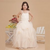 Cheap 2015 Adorable Vintage Ball Gown Flower Girl Dresses Spaghetti Straps First Communion Dresses For Girls Girls Pageant Dresses Made in China