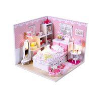 Wholesale 2016 Wood Doll House D Handmade Wooden Assembles Model Building Kits Miniature Dollhouse Chrsitmas Gift for Kids Angel Dream
