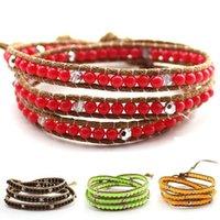 Wholesale New infinity jeseny bracelets imitation of natural agate Turquoise winding leather rope wrapped cord bead charm unisex bracelet