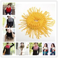 Wholesale 2014 Ladies Winter Women Knit Scarf Two Laps Scarf Shawl Infinity Circle Scarf Wrap Scarves Tassel
