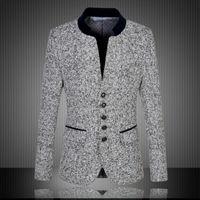 Wholesale High Quality New Arrival Chinese Blazer Men Stand Collar Men s Suit Jacket Fashion Blazer For Men Slim Fit Jacket Plus Size XL XL