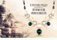 beaded station necklace - The new female short paragraph clavicle chain necklace Europe and exaggerated retro station fashion jewelry with circular geom