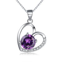 Wholesale Heart Shape Silver Pendant Guaranteed Solid Sterling Silver Pendant With Olive Cubic Zirconia yh4366