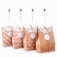Wholesale 140g kraft paper Pack Bags Bread packaging Cinema Candy Cookie Container Party Favors Package Oil food paper bag