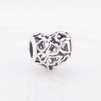 silver - Father Day Gift floating charms hearts shape beads jewerly sterling silver fits DIY bracelets European style T022ANO6