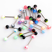 Wholesale Fashionable Colorful Stainless Steel Ball Barbell Tongue Rings Bars Piercing