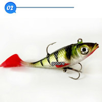 Wholesale 2015 New Upload Red Long Tail Lead Fish Soft Fishing Bait Lures g cm Leopard Print Soft Plastic Swim Jig Hook Lure