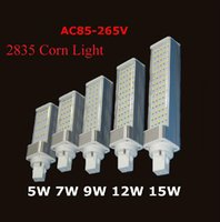 Wholesale E27 G24 G23 SMD LED corn bulb Horizontal Plug lights led lamp degree W W W W W W LEDs led lighting AC V