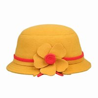 Wholesale Fashion Children Cashmere Billycock Hats Bowler Soft Casual Caps With Flower Petal Decorate For Travel ELS5