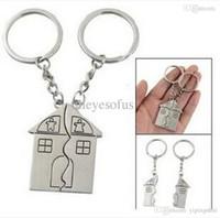 jour de gros-2015 New Fashion Couple cadeau romantique Maison Keychain personnalisés Souvenirs Longe Keyring Valentine Love Key Fob