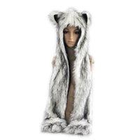 rabbit fur wrap - Womens Ladies Faux Rabbit Fur Hat WInter Warm Hoodies Caps Beanie Scarves Paw Gloves Pocket