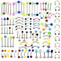 Cheap 21 Style 105Pcs Body Jewelry Piercing Eyebrow Navel Belly Tongue Lip Bar Ring 18519#