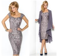 Wholesale 2015 Stylish Lace Mother s Suit with Long Sleeve Chiffon Jacket Strapless Sheath Tea Length Mother of The Bride Dresses with Cap Sleeve